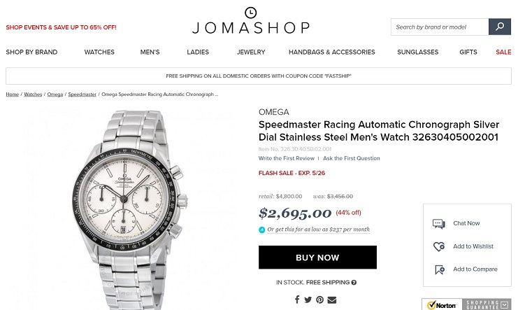 Jomashop Omega Speedmaster Racing Automatic Chronograph