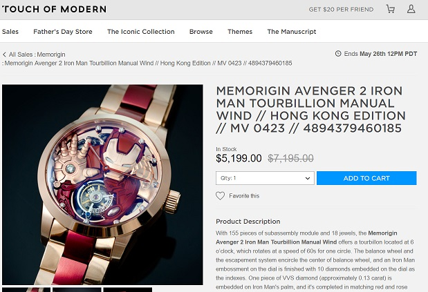 Memorigin Avenger 2 Iron Man Tourbillion Manual Wind
